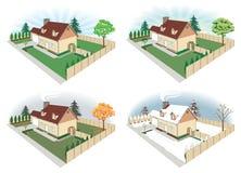 Haus in vier Jahreszeiten Stockfotos
