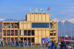Haus von der Schweiz während Winter Olympics Stockbilder