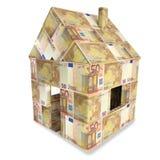 Haus von 50 Euroanmerkungen Stockbild