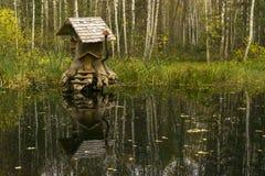 Haus von fabelhaften Geschöpfen im Sumpf lizenzfreie stockbilder