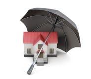 Haus wird geschützt Haus gebildet vom Geld im schwarzen Hintergrund Wiedergabe 3d Stockfotos