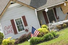 Haus zerstört von Tornado Stockfotografie