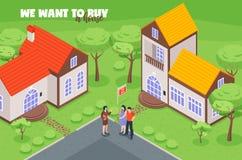 Haus zu verkaufen-isometrische Illustration stock abbildung