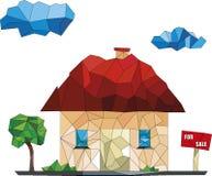 Haus zu verkaufen-niedrige Polyillustrationen stockfoto