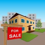 Haus zu verkaufen-Zeichen und hölzernes Stockbilder