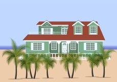 Haus zum Süden, umgeben durch Palmen Stock Abbildung