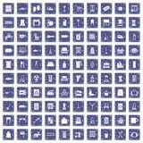 100 Hausarbeitikonen stellten Schmutzsaphir ein Stockbilder