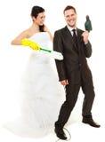 Hausarbeitkonzept und -verheiratetes Paar Stockbild