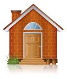Hausarchitektur des roten Ziegelsteines mit Kamin Stockfotografie