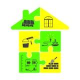 Hausbau in Form von Puzzlespielen Stockbilder