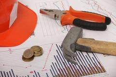 Hausbau- und Erneuerungsgraphiken Lizenzfreies Stockbild