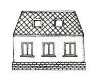 Hausbodenskizzen-Vektorillustration der Weinlese rustikale Lizenzfreie Abbildung
