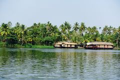 Hausboote in Allepey, Kerala Lizenzfreies Stockfoto