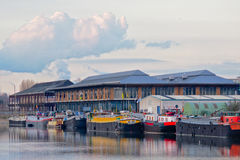 Hausboote vor dem alten Fischmarkt, Muide-Nachbarschaft, Gent Stockfotografie