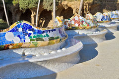 Hause and ceramic. Antoni Gaudi hause and ceramic bench in Park Guell, Barcelona, Spain Royalty Free Stock Image