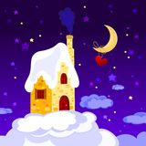 Hause and moon. Heart and stars Stock Image