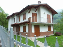 Hause on the mountain. I have seen this house in Bergamo stock photo