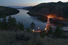 Hauser Dam at Evening Royalty Free Stock Photos