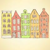 Hauses d'Amsterdam de croquis dans le style de vintage Image libre de droits
