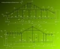 Hausfassade auf grünem Hintergrund. Vektorplan stock abbildung