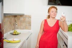 Hausfrau, die in der Küche kocht Stockfotografie