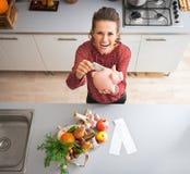 Hausfrau, die Geld in Sparschwein steckt Stockfoto