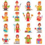 Hausfrau-Flat Color Icons-Satz Stockbild