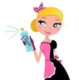 Hausfrau-französisches Retro- Mädchen mit Reinigungsspray. Stockfoto