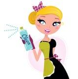Hausfrau - französisches Retro- Mädchen mit Reinigungsspray Stockfoto