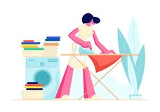 Hausfrau Ironing Clear Linen zu Hause Junge Frau 15 lizenzfreie abbildung