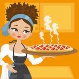 Hausfrau mit Kuchen Stockfotos