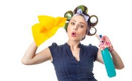 Hausfrau mit Lappen stockfotos