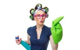 Hausfrau mit Lappen lizenzfreie stockfotos