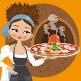 Hausfrau mit Pizza Lizenzfreies Stockfoto