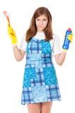 Hausfrau mit Reinigungszubehör Lizenzfreie Stockbilder