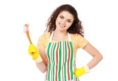 Hausfrau mit Reinigungszubehör Stockfotografie
