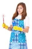 Hausfrau mit Reinigungszubehör Stockfotos