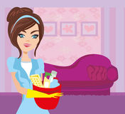 Hausfraureinigung Lizenzfreies Stockfoto