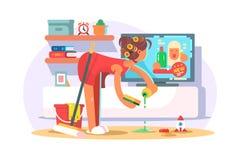 Hausfraureinigungshaus lizenzfreie abbildung