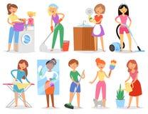 Hausfrauvektor-Frauenhaushaltung und sauber halten Haus mit Staubsauger und Waschmaschinen- oder Eisenillustration Stockfoto
