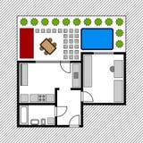 Hausfußbodenplan mit Garten Stockfotografie