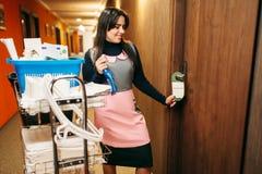 Hausgehilfin in fertiger Reinigung der Uniform der Raum lizenzfreie stockbilder