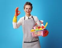 Hausgehilfin mit einem Korb mit Reinigungsmitteln und dem Bürstendarstellen okay lizenzfreies stockfoto