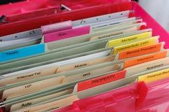 Haushalt dokumentiert Organisation lizenzfreies stockfoto