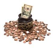 Haushaltpläne und Münzen Lizenzfreie Stockfotos