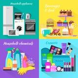 Haushalts-und Getränkelebensmittel-Kosmetik Stockfotografie