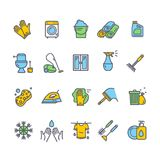 Haushalts-und Reinigungs-Werkzeuge farbige dünne Linie Ikonen-Satz Vektor Stockfotos