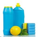 Haushaltschemikalien in den Flaschen mit Geruchzitrone, Minze, Schwämme lokalisiert lizenzfreie stockfotos