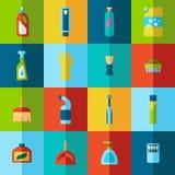 Haushaltschemikalien und Putzzeugflaschen vector flache halbe Ikonen Stockfotografie