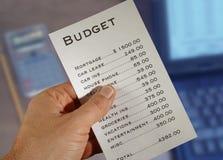 Haushaltsetat Stockfoto